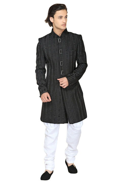 Black Satin Silk Indian Wedding Indo-Western Sherwani For Men
