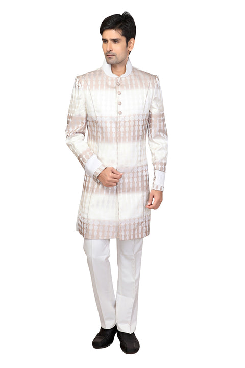 White & Brown Imported Silk Indian Wedding Indo-Western Sherwani For Men