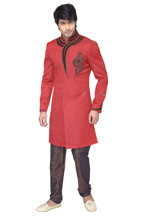 Orange Jute Silk Indian Wedding Indo-Western Sherwani For Men