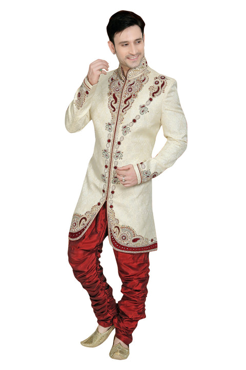 Beige Brocade Silk Indian Wedding Indo-Western Sherwani For Men