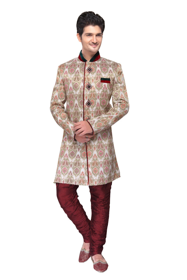 White Fabric Silk Indian Wedding Indo-Western Sherwani For Men