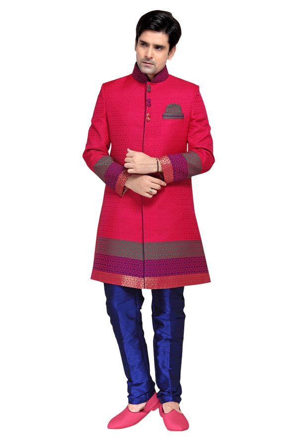 Pink Fabric Silk Indian Wedding Indo-Western Sherwani For Men