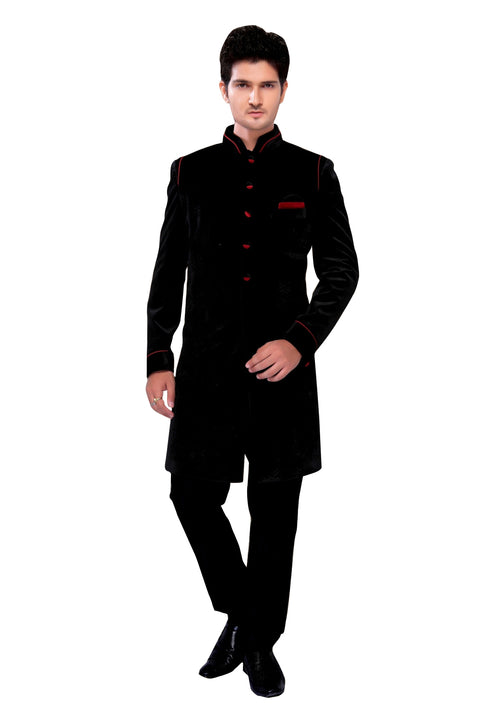 Black Velvet Silk Indian Wedding Indo-Western Sherwani For Men