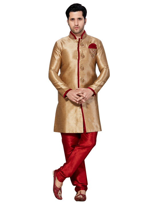 Brown Ghicha Silk Indian Wedding Indo-Western Sherwani For Men
