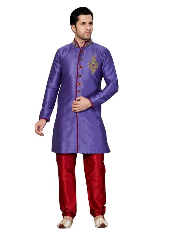 Purple Ghicha Silk Indian Wedding Indo-Western Sherwani For Men