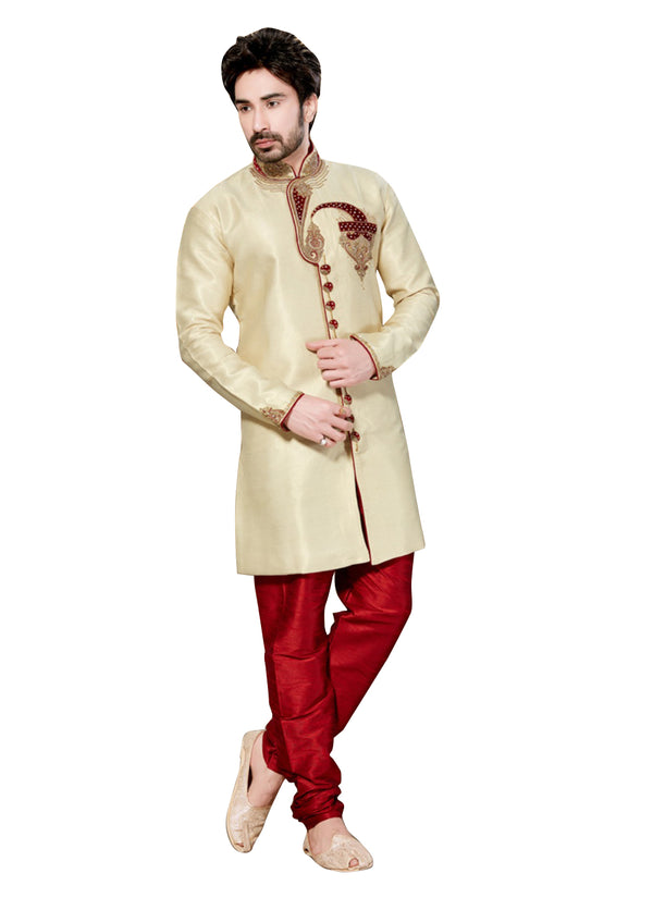 Cream Ghicha Silk Indian Wedding Indo-Western Sherwani For Men
