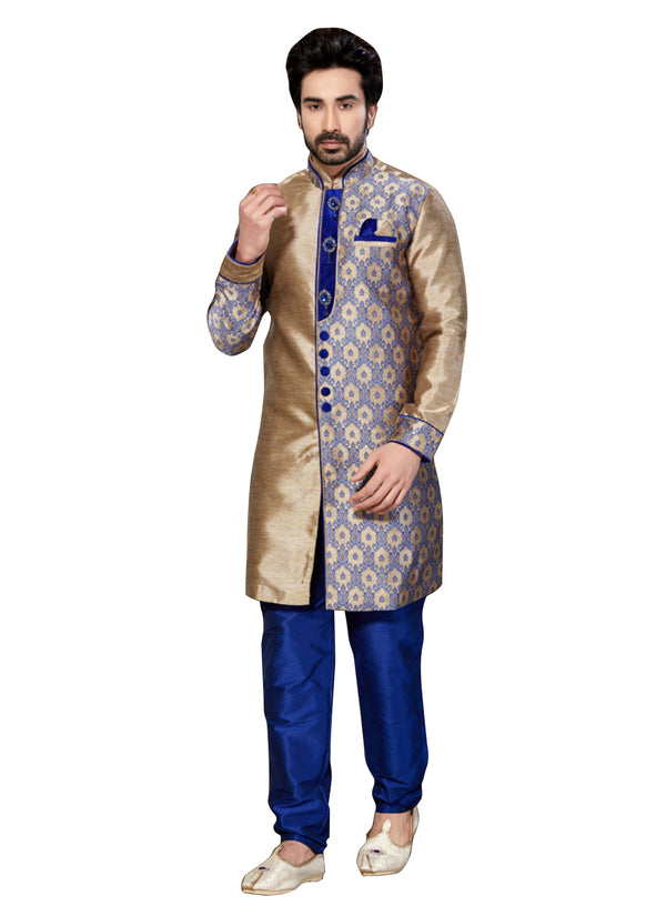 Brown Jacquard & Ghicha Silk Indian Wedding Indo-Western Sherwani For Men