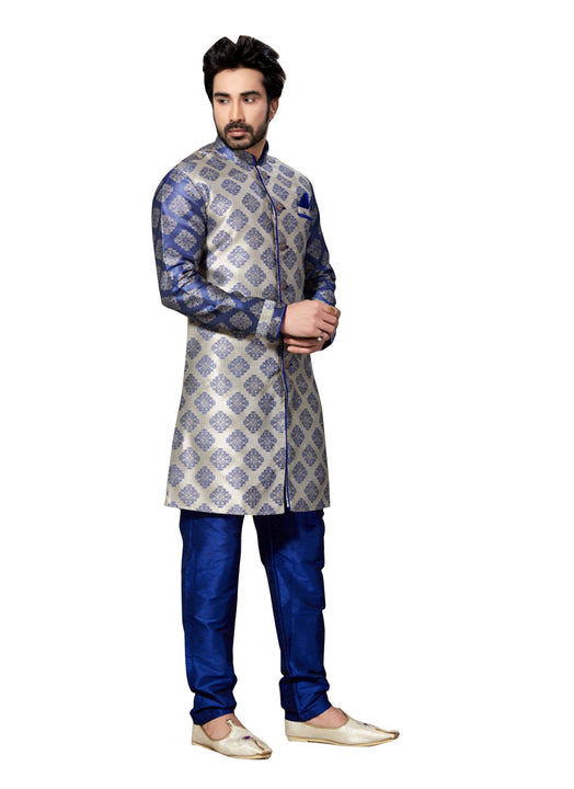 Gray Jacquard Silk Indian Wedding Indo-Western Sherwani For Men