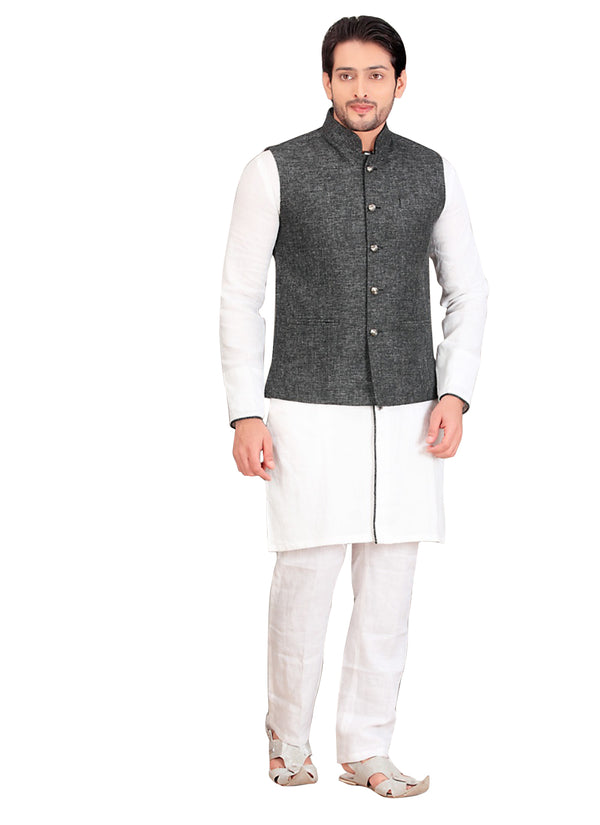 White Cotton Silk Indian Wedding Indo-Western Sherwani For Men