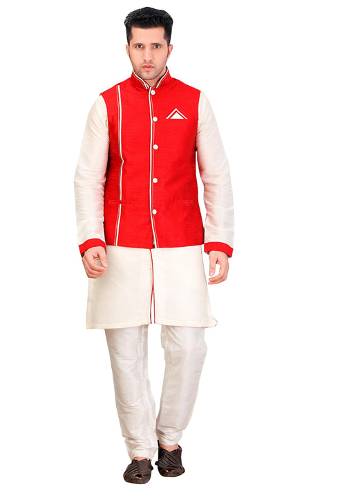 White Dupioni Raw Silk Indian Wedding Indo-Western Sherwani For Men