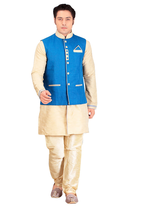 Beige Dupioni Raw Silk Indian Wedding Indo-Western Sherwani For Men
