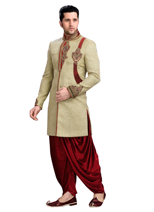 Brown Jute Silk Indian Wedding Indo-Western Sherwani For Men