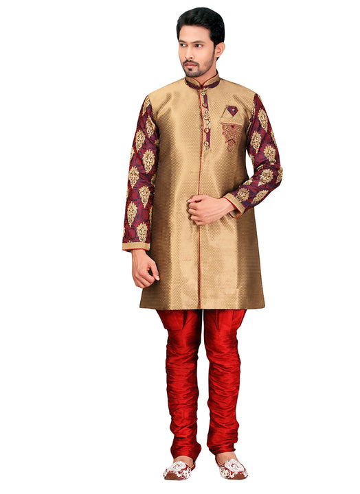 Beige Jacquard Silk Indian Wedding Indo-Western Sherwani For Men