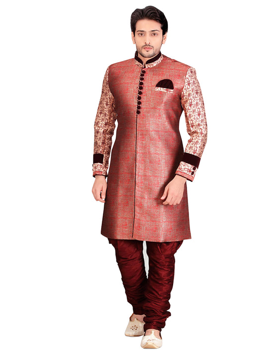 Red Dupioni Raw Silk Indian Wedding Indo-Western Sherwani For Men