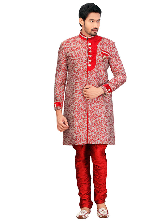 Red Jute Silk Indian Wedding Indo-Western Sherwani For Men