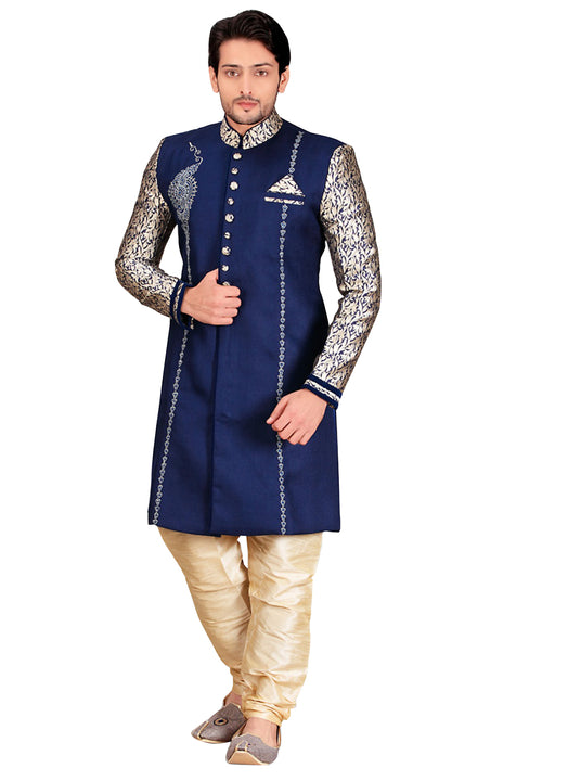 Blue Jute Silk Indian Wedding Indo-Western Sherwani For Men