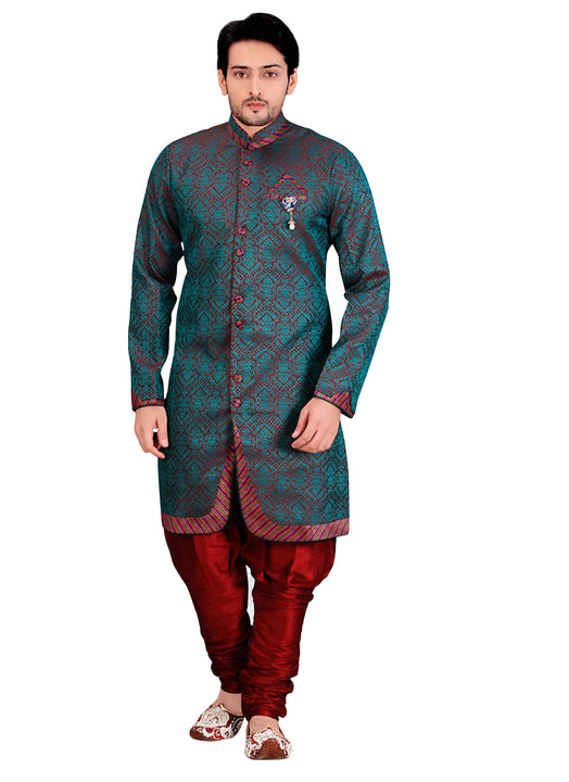 Maroon Jacquard Silk Indian Wedding Indo-Western Sherwani For Men