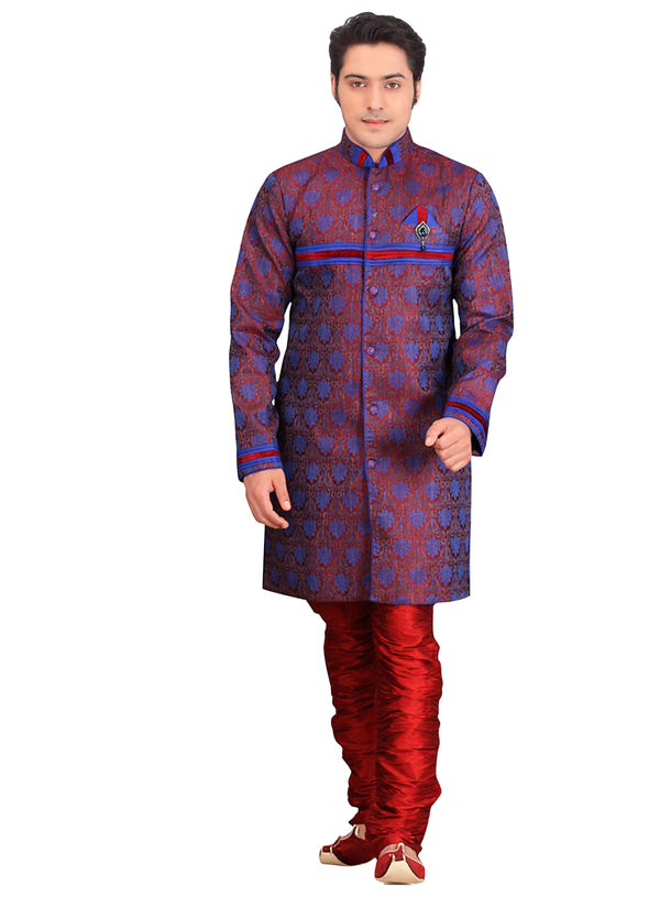 Blue Jacquard Silk Indian Wedding Indo-Western Sherwani For Men