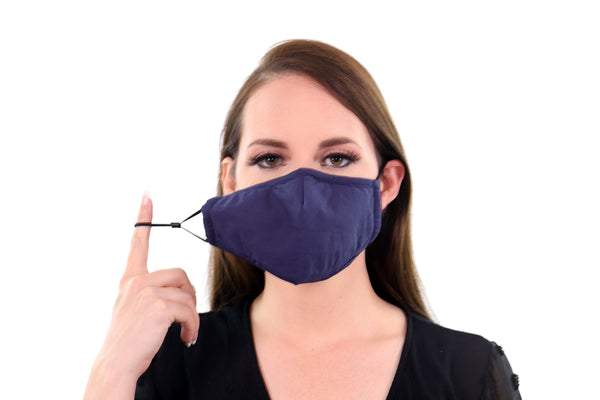 2 Pack Navy Reusable Face Masks 3 Layer Cotton Fabric with Pocket for Filter, Nose Strip and Adjustable Ear Loops