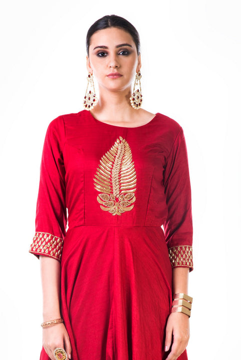 Red Leaf Hand Embroidered Silk Anarkali Gown