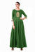 Bottle Green Leaf Hand Embroidered Silk Anarkali Gown