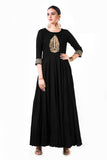 Black Leaf Hand Embroidered Silk Anarkali Gown