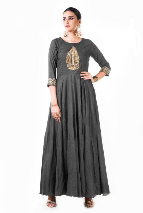 Grey Leaf Hand Embroidered Silk Anarkali Gown