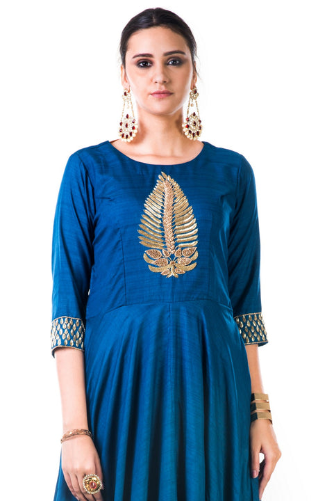 Blue Leaf Hand Embroidered Silk Anarkali Gown
