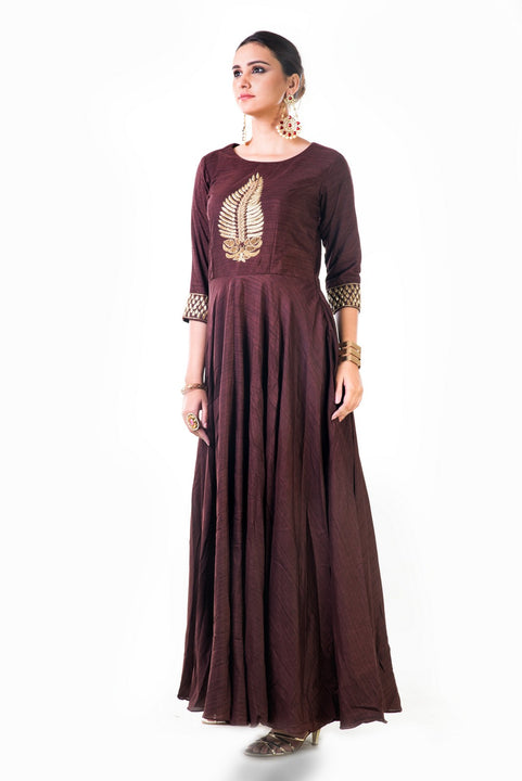 Brown Leaf Hand Embroidered Silk Anarkali Gown