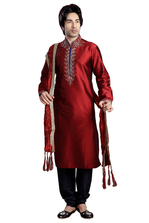 Saris and Things Maroon Shantoon Readymade Ethnic Indian Kurta Pajama for Men