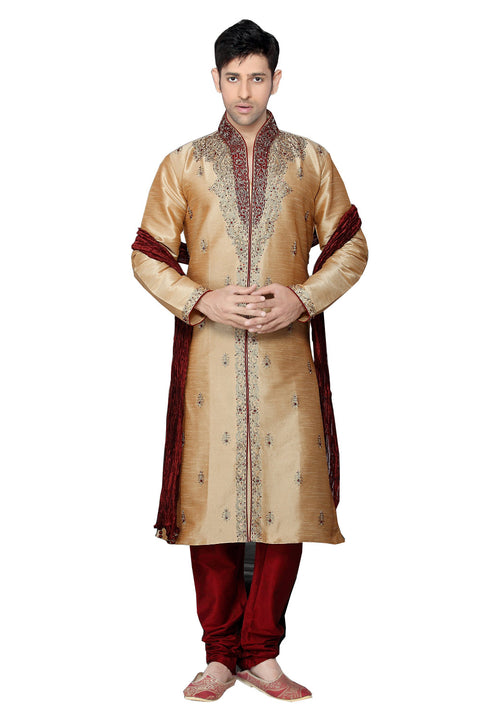 Saris and Things Beige Dupioni Raw Silk Readymade Ethnic Indian Kurta Pajama for Men