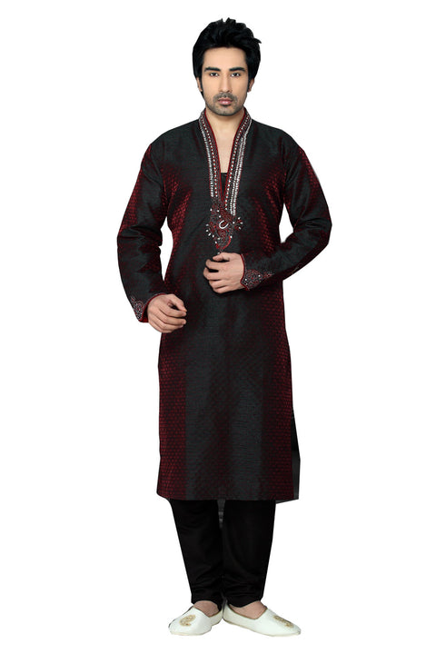 Saris and Things Maroon Jacquard Readymade Ethnic Indian Kurta Pajama for Men