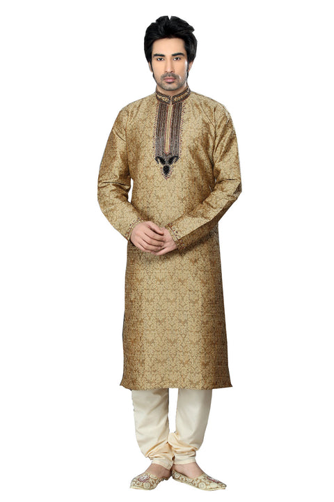 Saris and Things Brown Jacquard Readymade Ethnic Indian Kurta Pajama for Men