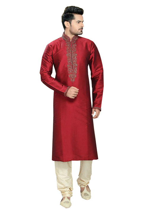 Saris and Things Red Shantoon Readymade Ethnic Indian Kurta Pajama for Men