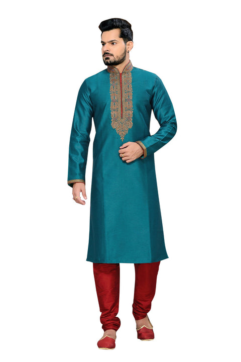 Saris and Things Blue Ghicha Silk Readymade Ethnic Indian Kurta Pajama for Men