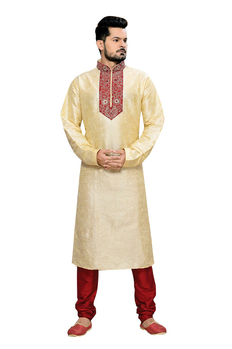 Saris and Things Cream Art Silk Readymade Ethnic Indian Kurta Pajama for Men