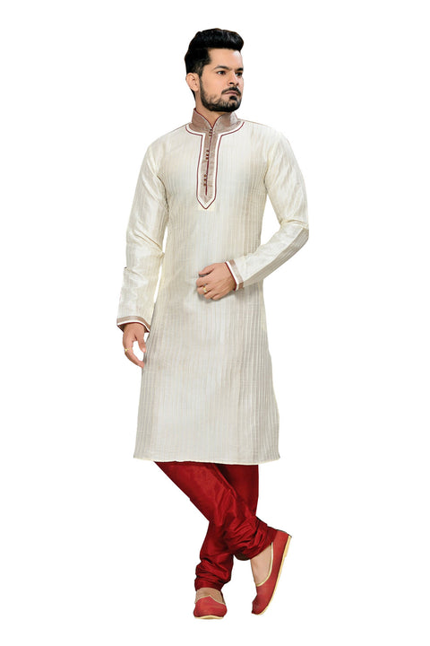 Saris and Things White Art Silk Readymade Ethnic Indian Kurta Pajama for Men