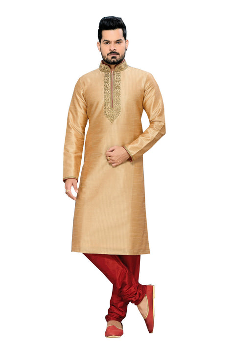 Saris and Things Beige Art Silk Readymade Ethnic Indian Kurta Pajama for Men
