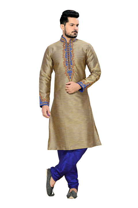 Saris and Things Brown Ghicha Silk Readymade Ethnic Indian Kurta Pajama for Men