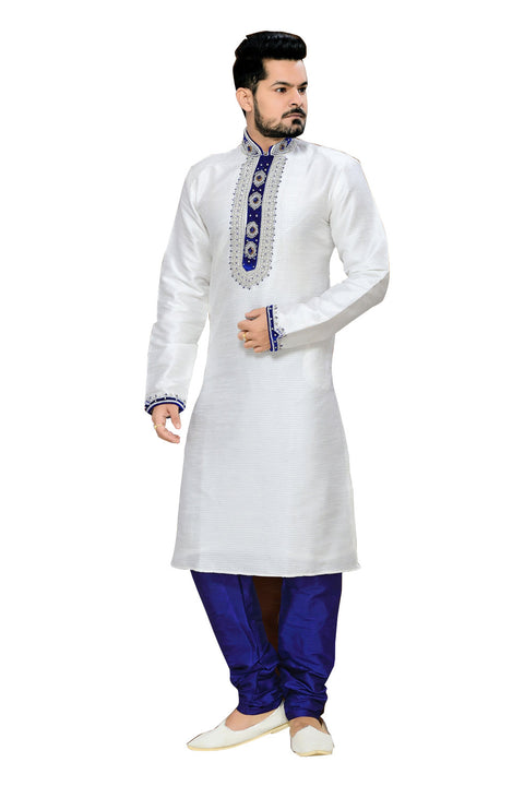 Saris and Things White Art Silk & Jacquard Readymade Ethnic Indian Kurta Pajama for Men