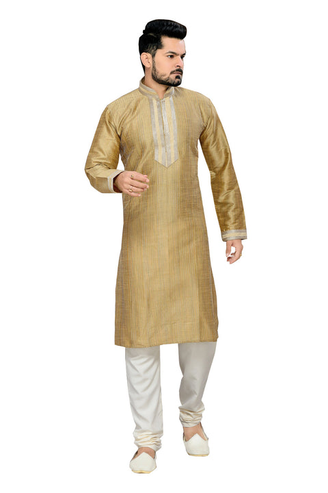 Saris and Things Beige Ghicha Silk Readymade Ethnic Indian Kurta Pajama for Men