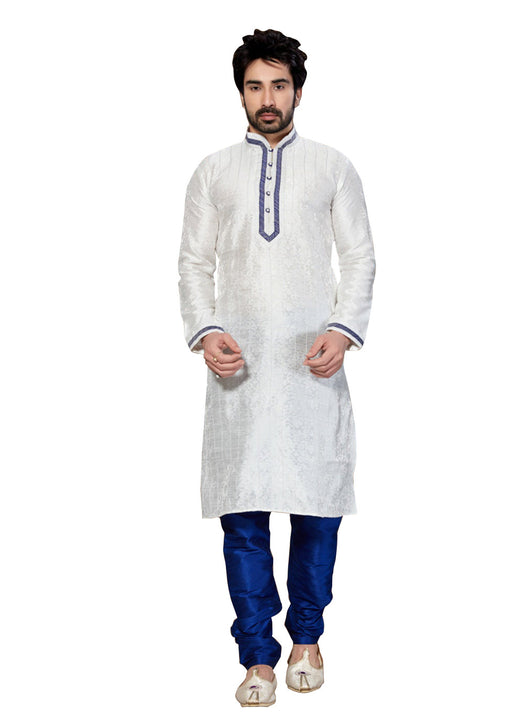 Saris and Things White Jacquard Readymade Ethnic Indian Kurta Pajama for Men