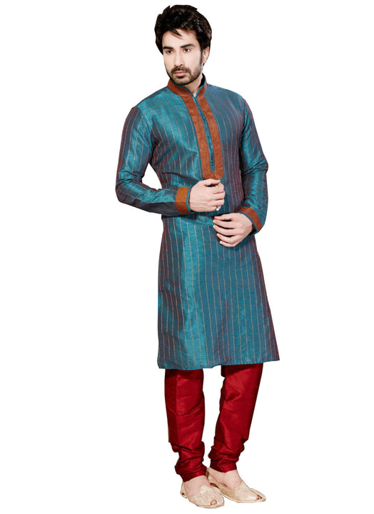Saris and Things Blue Dupioni Raw Silk Readymade Ethnic Indian Kurta Pajama for Men