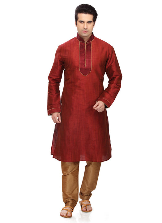 Saris and Things Red Art Silk Readymade Ethnic Indian Kurta Pajama for Men