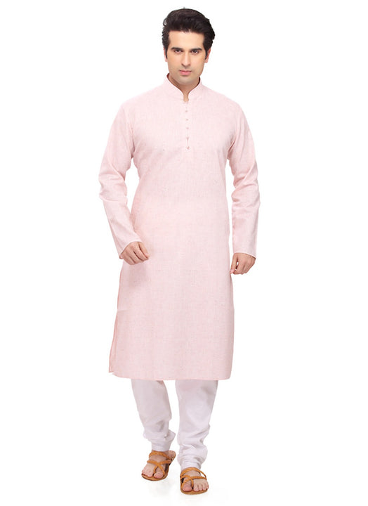Saris and Things Pink Cotton Readymade Ethnic Indian Kurta Pajama for Men