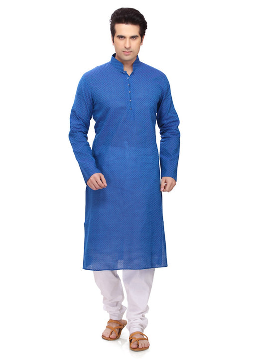 Saris and Things Blue Cotton Readymade Ethnic Indian Kurta Pajama for Men