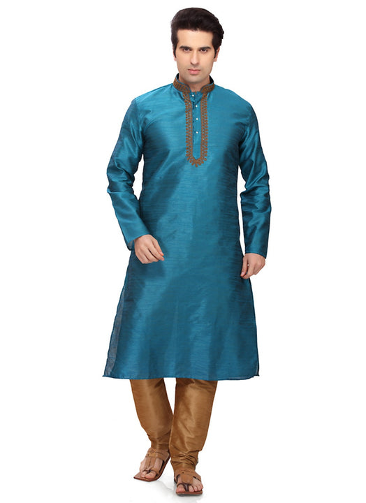 Saris and Things Blue Art Silk Readymade Ethnic Indian Kurta Pajama for Men