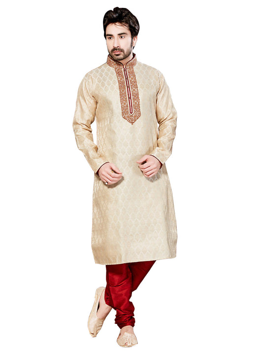Saris and Things Cream Brocade Readymade Ethnic Indian Kurta Pajama for Men