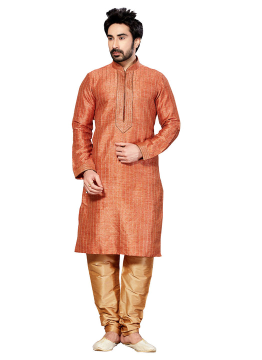 Saris and Things Orange Dupioni Raw Silk & Ghicha Silk Readymade Ethnic Indian Kurta Pajama for Men