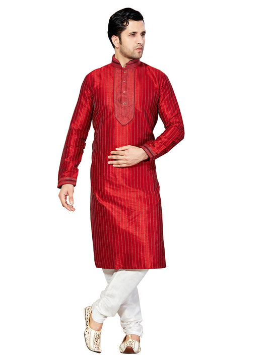 Saris and Things Red Dupioni Raw Silk Readymade Ethnic Indian Kurta Pajama for Men